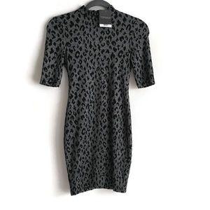 TopShop NEW Gray Leopard Print Mini Dress